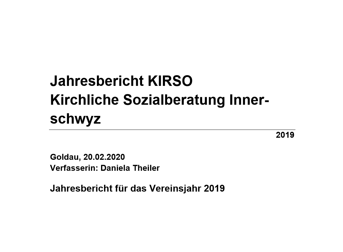 Jahresbericht KIRSO 2019
